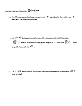 AP Calculus Differential Equations and Applications of Integration FRQs