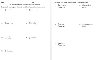 AP Calculus:Differential Equations and Slope Fields Notes and Homework