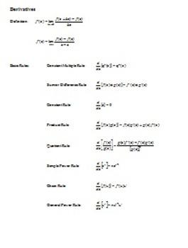 AP Calculus: Formula Sheet