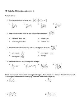 AP Calculus Infinite Series Convergence worksheet