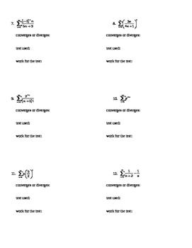 AP Calculus Infinite Series Test