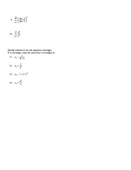 AP Calculus Infinite Series and Sequences Review Convergence Worksheet