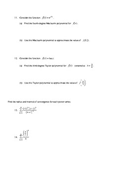 AP Calculus Infinite Series convergence and divergence review