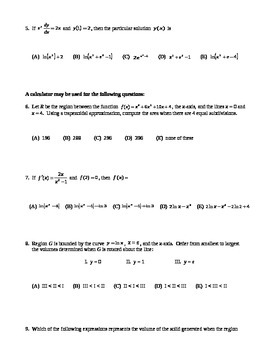 AP Calculus: Integration Multiple Choice AP Practice