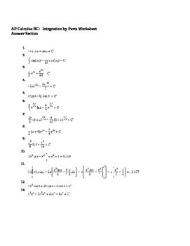 AP Calculus Integration by Parts worksheet