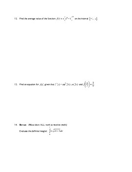 AP Calculus: Integration by Substitution Test