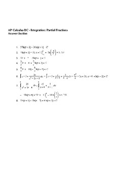 AP Calculus Integration using Partial Fractions worksheet