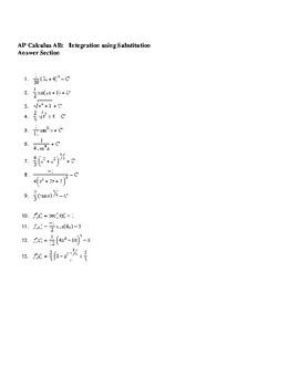 AP Calculus Integration using Substitution Worksheet