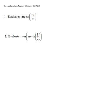 AP Calculus Inverse Trig Review Power Point presentation