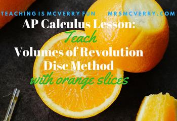 AP Calculus Lesson: Volumes of Revolution Disc Method by Slicing Oranges