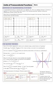 AP Calculus: Limits of Transcendental Functions Complete Lesson