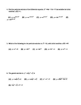 AP Calculus: MC Review of Differential Equations