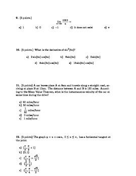 AP Calculus Midterm Exam