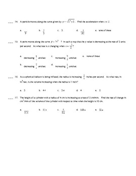 AP Calculus: Multiple Choice Review