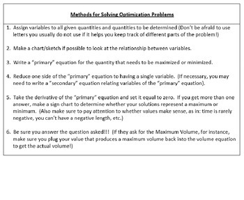 AP Calculus - Optimization Review PowerPoint
