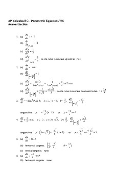 AP Calculus Parametric Equations worksheet