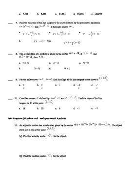 AP Calculus Parametric, Polar, and Vector Test