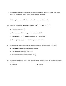 AP Calculus Parametric, Polar, and Vector applications review