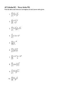 AP Calculus Power Series worksheet