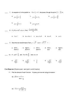 AP Calculus: Prerequisites Test