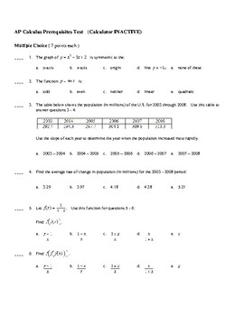 AP Calculus: Prerequisites Test