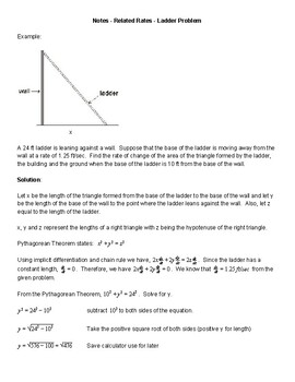 AP Calculus AB - Related Rates - Ladder Problem