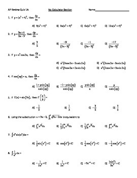 AP Calculus Review Quiz 2015
