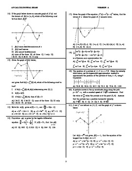 AP Calculus Second Semester Final Exam 2017