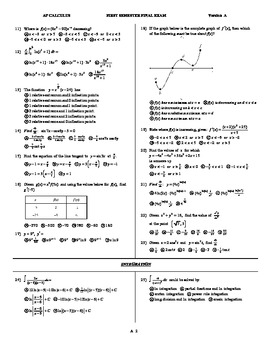 AP Calculus Semester Final 5 versions pdf format