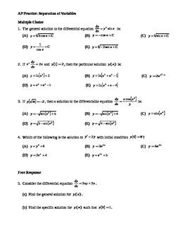 AP Calculus: Separation of Variables AP Practice