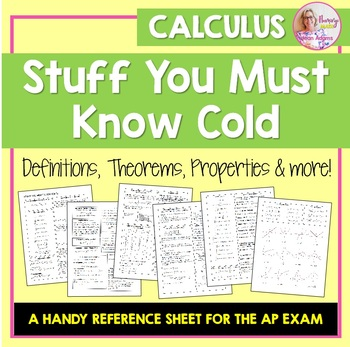 AP Calculus Stuff You Must Know Cold
