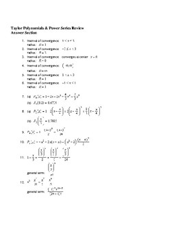 AP Calculus Taylor Polynomials Power Series Review