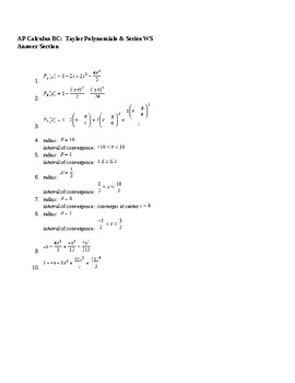 AP Calculus Taylor Polynomials Power Series WS