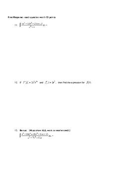 AP Calculus Techniques of Integration Test