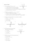 AP Calculus Test Questions: Analysis of Graphs