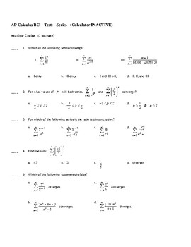 AP Calculus Test on Infinite Series Convergence & Sequences