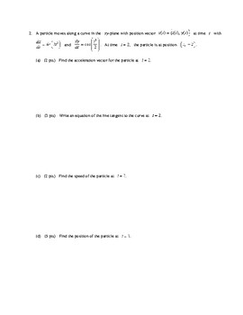 AP Calculus Test on Parametric Polar and Vector applications