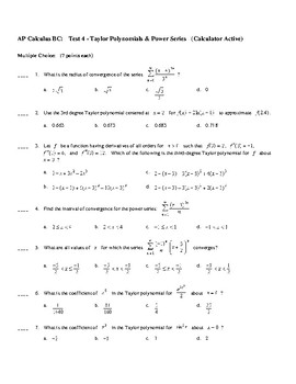 AP Calculus Test on Taylor Polynomials/Series and Power Series
