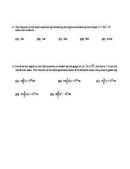 AP Calculus: Volume AP Practice
