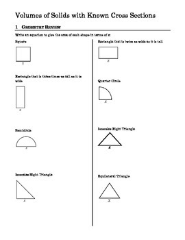 calculus worksheet on volume by cross sections kidz activities. Black Bedroom Furniture Sets. Home Design Ideas