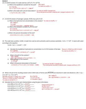 AP Chemistry Acids & Bases Homework Handout with ANSWER KEY