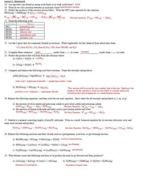 AP Chemistry Aqueous Solutions Homework Handout