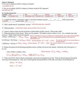 AP Chemistry Aqueous Solutions Homework Handout (includes ANSWER KEY)