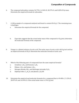 AP Chemistry Big Idea 1 Worksheet: Composition of Compounds by The ...