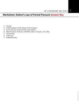 AP Chemistry Big Idea 2 Worksheet: Dalton's Law of Partial Pressures
