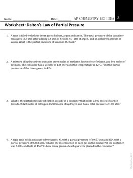AP Chemistry Big Idea 2 Worksheet: Dalton's Law of Partial ...  AP Chemistry Bi...
