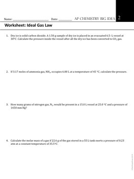 AP Chemistry Big Idea 2 Worksheet: Ideal Gas Law by The ...