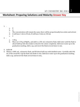 AP Chemistry Big Idea 2 Worksheet: Preparing Solutions and Molarity