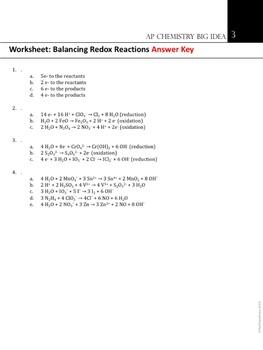 AP Chemistry Big Idea 3 Worksheet: Balancing Redox Equations