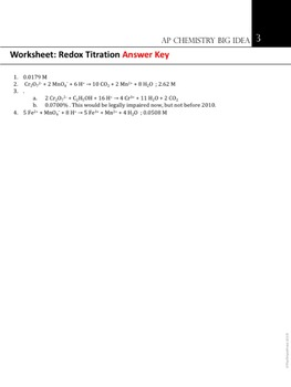 AP Chemistry Big Idea 3 Worksheet: Redox Titration by The Triple Point
